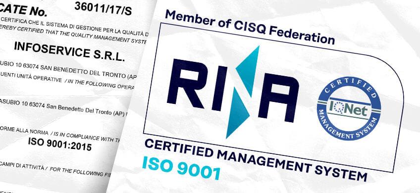 Infoservice ottiene la certificazione RINA ISO 9001